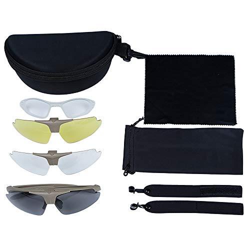 Outdoor-Anti-Fog-Schutzbrille Goggle Tactic Eye Protector Gummi-Nasenpolsterung 3 austauschbare Linsen Shooting Glass Sunglasses Kit für Radfahren Fahren Wandern Angeln