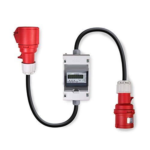 Swissnox 32A MID geeicht - Digital Stromzähler Zwischenstecker Box 400V / 32A CEE-Stecker Und Kupplung (PCE). Wattmeter Energiezähler Zwischenzähler Starkstromzähler. Assembled in Germany 0.5m Digitale Stromzähler