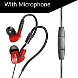 QKZ W1 Pro Kopfhörer Plug-in Sport-Kopfhörer HiFi Sounds Handy-Ohrhörer in-Ohr-Bass-Kopfhörer mit Mic,Red
