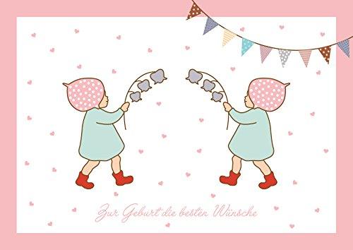 Zur Geburt die besten Wünsche Glückwunschkarte zur Geburt für Mädchen Zwillinge (Babykarte/Zwillings Baby Karte/Klappgrußkarte) mit 2 Wichtelmännchen und Girlande in Rosa (Mit Umschlag) (1)