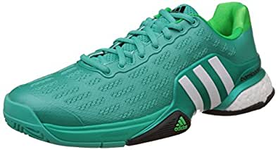 Adidas Men's Barricade 2016 Boost Green and White Mesh Tennis Shoes - 10 UK