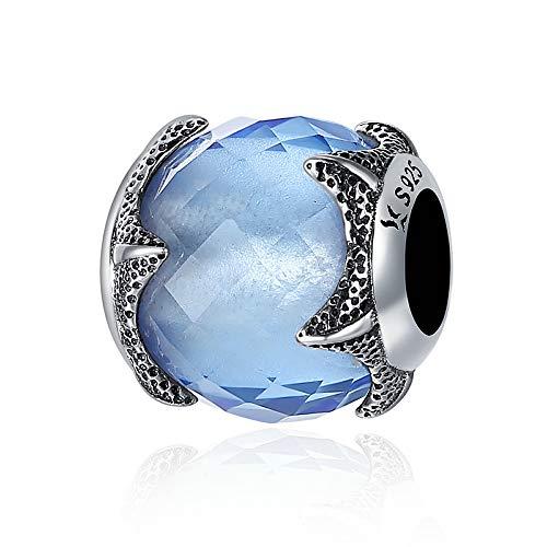 Blue Starfish Authentic 100% in argento Sterling 925a forma di stella marina con cristallo azzurro Undersea World Beads Fit charm braccialetto gioielli fai da te