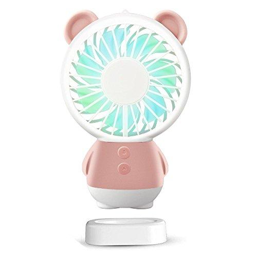 (SUDOTACK Mini USB Fan, tragbare wiederaufladbare Handheld-Fan, Halskette und Tischventilator mit 2 Multi-Color-LED-Licht, einstellbare Geschwindigkeiten, Standfuß (Rosa))