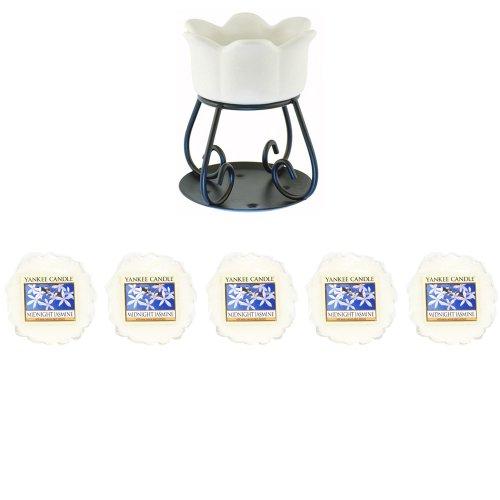 Yankee Candle Lot de 5 tartelettes Parfumées en forme de pétales de jasmin de nuit d'ambiance pour bougie blanc (nouvelle couleur brûleurs pour 2014)