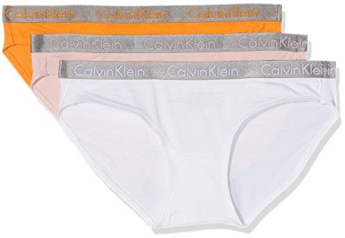 Calvin Klein Damen Slip Bikini 3PK, Mehrfarbig (Vibrant Mango/White/Undone UNX), 36 (Herstellergröße: S)