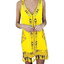 36fd5e09c58f Dragon868 Vestito A Tunica Donna Cotone E Lino Eleganti Brasiliana Floreale  Afrian Senza Maniche Mini Dress
