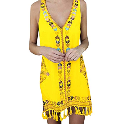 Damen Dress Kleider Frauen Mode Strandkleider Sommer Böhmen Print ärmellose V-Ausschnitt Strand Minikleid mit Quaste Casual Sommerkleid Blusenkleid Dirndl