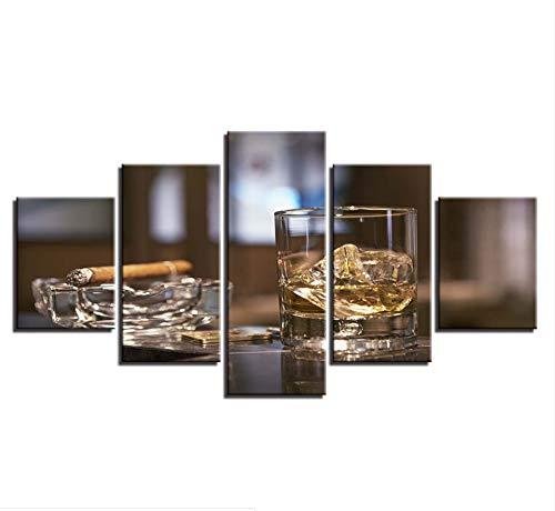 nstwerk Leinwand Malerei Drucke Wohnkultur 5 Stücke Wandkunst Whisky Zigarre Modulare Nacht Hintergrund Bilder Poster ()