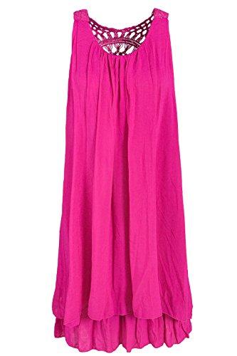 Sommerkleid mit Spitze am Rücken Tunikakleid knielang Pink 38+40