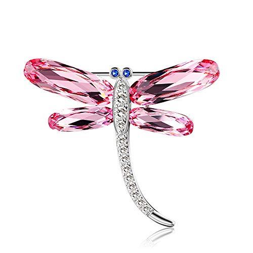 Peggy Gu schmuck Kristalle von Swarovski Plated Zirkon Libelle Form Brosche Pins für Frauen kostüm - Accessoire (Farbe : Rosa)