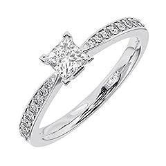 Idea Regalo - 0.70carati rotondi brillanti anello di fidanzamento disponibile in oro e platino e platino, 54 (17.2), cod. FR1204