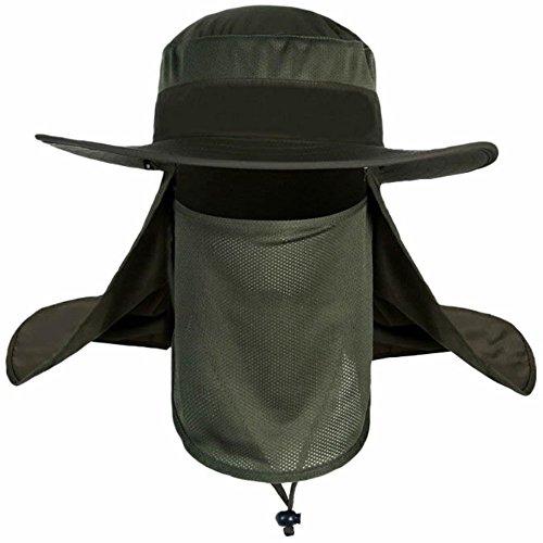 Highdas Camping Wandern Angeln Außen Big Wide Brim Gesicht Hals Abdeck klappe Sonnenhut Cap mit abnehmbarem Nackenschutz für den (Geist Kostüm Cod)