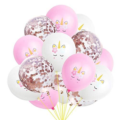15 Pcs Ballons 12Inch Latex Licorne Rose Or Confettis Ballons Pour Les Fournitures De FêTe Graduation Mariage Baby Shower DéCorations DAnniversaire
