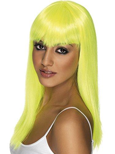 Gelbe Perücke lang neon gelb Glamourama Langhaar Pony