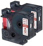 2 Kassetten D1 40912 rot auf transparent 9mm x 7m Schriftband kompatibel für DYMO LabelManager LM 100, 110, 120P, 150, 155, 160, 200, 210D, 220P, 260, 260D, 280, 300, 350, 350D, 360D, 400, 420P, 450, 450D, 500TS, PC, PC2, PnP, PnP Wireless, LabelPoint LP 100, 150, 200, 250, 300, 350, LabelWriter LW 400 Duo, 450 Duo Beschriftungsgerät
