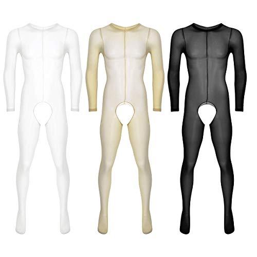 ae5bfa9ca4 YiZYiF Transparent Herren Overall Langarm Durchsichtig Männer Body  Unterwäsche Unterhemd Jumpsuit Ouvert-Pants Crotchless Strumpfhose
