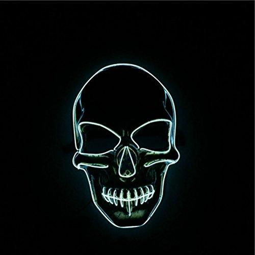 HUPLUE Halloween Horror Skelett Maske Luminous Full Face Maske Cosplay Masquerade Scary Kostüm LED-Licht Blinken Maske Glow in Dark für Karneval Festival Party Color 1