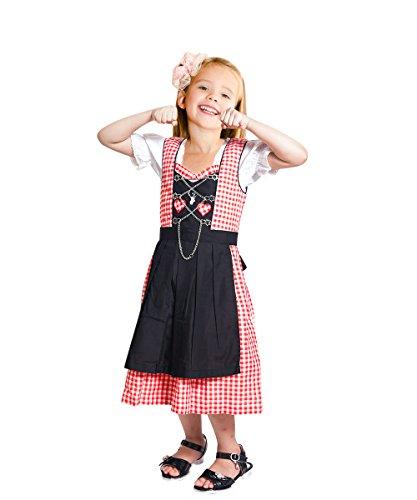 Dik08-10 Dirndl für Kinder, 3 Teiliges Trachtenkleid in Rot weiß, Kleid mit Bluse und Schwarzer Schürze...