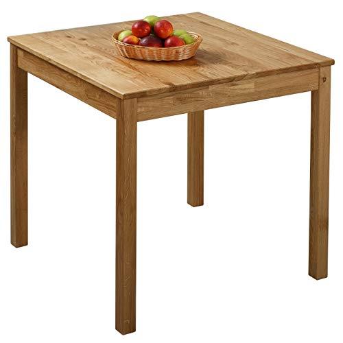 Krokwood Tomas Massivholz Esstisch in Eiche 75x75x75 cm FSC100% massiv Beistelltisch geölt Eichenholz Esszimmertisch Küche praktischer Küchentisch Holztisch vom Hersteller