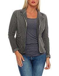 23448a7ec1c8 malito Damen Blazer im Washed Style   schickes Stern Sakko   Kurzjacke mit  Knöpfen   Jacke