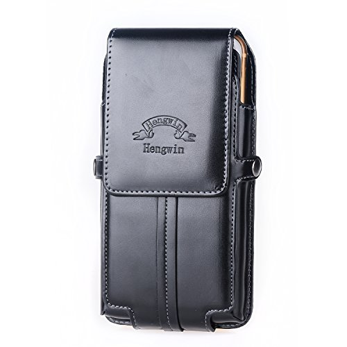 Handytasche mit Karabiner, Hengying Ledertasche Gürteltasche mit Magnetverschluß, Gürtelclip, Gürtelschlaufe mit Kartenfach für iPhone 6 Plus iPhone 6S Plus iPhone 7 Plus Motorola Nexus 6