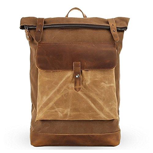 Bold Manner Unisex Rucksack Retro Reisetasche Herren Laptoptasche Damen Schultertasche Leder + Canvas Khaki