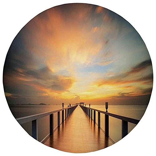 Round Rug Mat Carpet,Art,Wood Deck Bridge Along The Sea at Sunset Horizon with Dramatic Sky Autumn Scenery Print,Orange Blue,Flannel Microfiber Non-Slip Soft Absorbent,for Kitchen Floor Bathroom -
