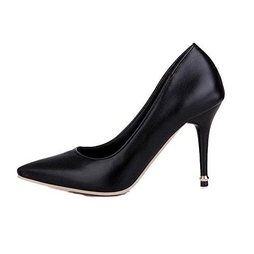 VogueZone009 Femme Pu Cuir Couleur Unie Tire Fermeture D'Orteil Pointu Stylet Chaussures Légeres Noir