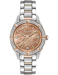 Bulova Reloj Analógico para Mujer de Cuarzo con Correa en Acero Inoxidable  98R264 9974aeab3804