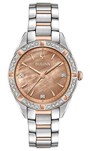b0140ec4a69f Bulova Reloj Analógico para Mujer de Cuarzo con Correa en Acero Inoxidable  98R264