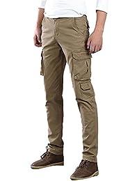 Hombre Pantalones Cargo Múltiples Bolsillos Pantalón Chino Pantalones De Trabajo Estilo Militar Casual - Caqui/38 N1UNWM
