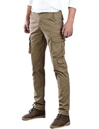 Hombre Pantalones Cargo Múltiples Bolsillos Pantalón Chino Pantalones De Trabajo Estilo Militar Casual - Caqui/38