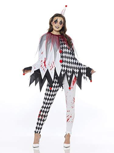 Karnival Costumes- Halloween Harlequin Poncho Disfraz, Color blanco y negro, small (84200)