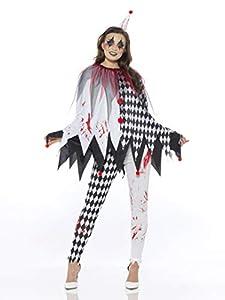 Karnival Costumes- Halloween Harlequin Poncho Disfraz, Color blanco y negro, extra-small (84200)