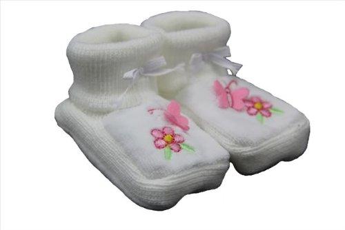 NEW Blanc & Rose Papillon & Fleur chaussons – Nouveau-né Bébé Fille