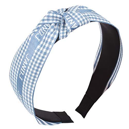 MIRRAY Elastisches Womens Trend Stirnband Schleife Grid Hairband Fliege Samt Wide Brimm Headwrap Haarband Himmelblau