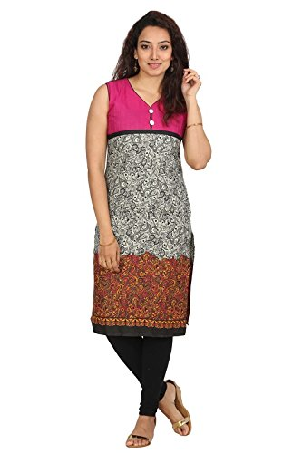 Urban Vastra Pink-B&W Floral Print Sleeveless Cotton Kurti 19601KRT-XL  available at amazon for Rs.299