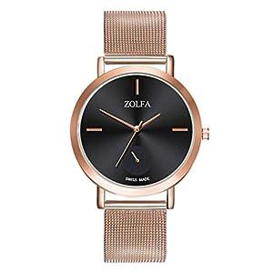 Damen Armbanduhr KiyomiQvQ Einfache Schwarz Zifferblatt Uhren Mode Elegant Edelstahl Mesh Armband Watch Schöne Charmant Legierung Gehäuse Damenuhr Frauen Analog Quartz Markenuhren
