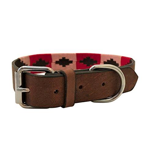 Harrington Marley Leder-Hundehalsband, Argentinischer Polo-Stil, handgefertigt, bestickt, genäht -