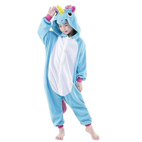 KiKa Monkey Kinder Einhorn-Karikatur-Flanell-Tierneuheit-Kostüme Cosplay Pyjamas (Größe 125: 135-144cm, blau)