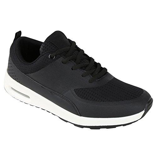Damen Herren Sportschuhe Runners Laufschuhe Sneakers Neon Schwarz Black