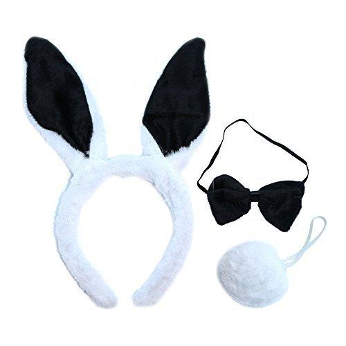 Kinder/Kind Bunny Kaninchen Fancy Kleid Set (Ohren, Fliege und (Halloween Kostüme Rabbit White)