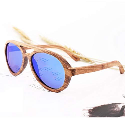 Zbertx Classic Men Polarized Wood Sonnenbrille Mirror Lens Damen Bamboo Sun Glass Uv400 Protection Rtro Pilot Sonnenbrille,Blue