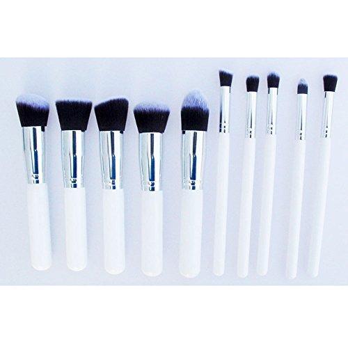 Contever® Mesdames Blanc Poignée - 10Pcs Brosse de Maquillage Kabuki Set Cosmétique Fondation Blending Blush Eyeliner Poudre pour le Visage Kit - Tube Couleur Argent