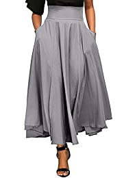 Jupe Femme Longue Taille Haute Tutu Uni Simple Poche Vintage Élégante  Classique Rétro Plissé Stretch Bureau Cocktail Party Maxi Belted… 73bf3be38f09