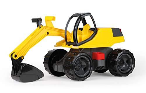 Lena 02141 - Starke Riesen Bagger, ca. 80cm, weiß / gelb, robuster Schaufelbagger mit solider Tragkraft und funktionierender Schaufel, großes Bagger Spielfahrzeug für Kinder ab 3 Jahre