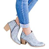 Chelsea Boots Women Block Heel Ankle Leather Winter Lace Flat Low Ladies Casual Comfortable Chunky 5cm Heeled Shoes