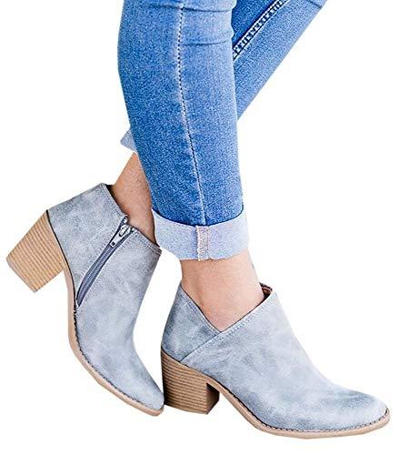 Botines Mujer Tacon Medio Invierno Planos Tacon Ancho Piel Botas Botita Moda 5cm Casual Planas Zapatos Calzado Caqui Rosa Azul Negros 35-43 BL39