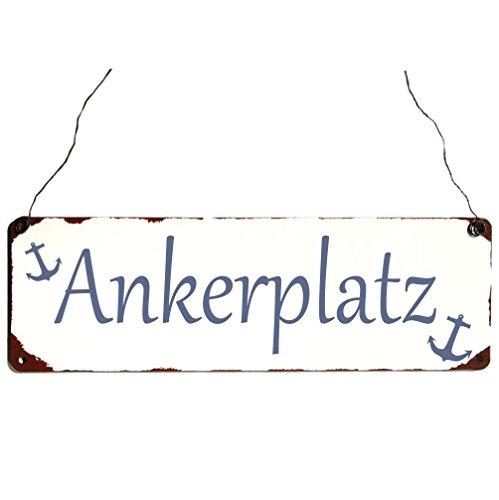 Blechschild Ankerplatz Vintage Shabby und Schick Maritim Metallschild