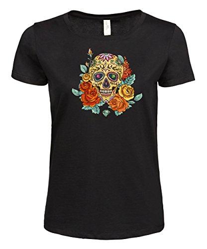 makato Damen T-Shirt Ladies Luxury Tee Flowers SD Black